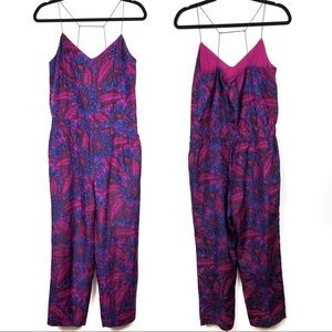 J. Crew Midnight Floral 100% Silk Jumpsuit 6